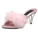 Pink 8 cm BELLE-301F Marabou Feathers Mules Shoes