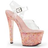 Pink Crystal 18 cm CRYSTALIZE-308TL High Heeled Evening Sandals