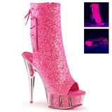 Pink Glitter 16 cm Pleaser DELIGHT-1018G Plateau Enkellaarzen