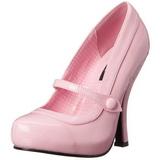 Pink Lak 12 cm retro vintage CUTIEPIE-02 mary jane pumps met verborgen plateauzool