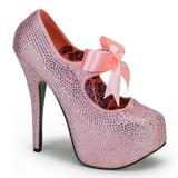 Pink Rhinestone 14,5 cm TEEZE-04R Platform Pumps Women Shoes