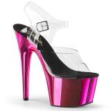 Pink chrome plateau 18 cm Pleaser ADORE-708 pole dance schoenen met hoge hakken