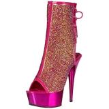 Pink glitter 15 cm DELIGHT-1018MS dames enkellaarsjes met plateauzool