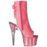 Pink glitter 18 cm ADORE-1018G dames enkellaarsjes met plateauzool