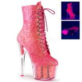 Pink glitter 18 cm ADORE-1020G dames enkellaarsjes met plateauzool