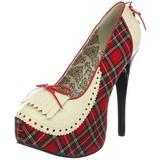 Plaid Patroon 14,5 cm Burlesque TEEZE-26 damesschoenen met hoge hak
