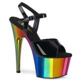 Plateau regenboog 18 cm ADORE-709RC paaldans schoenen met hoge hakken