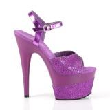 Purper 18 cm ADORE-709-2G glitter plateau sandalen met hak