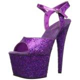 Purper 18 cm ADORE-710LG glitter plateau schoenen dames met hak