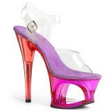Purper 18 cm MOON-708MCT Acryl plateau schoenen dames met hak