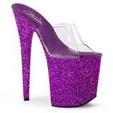 Purper 20 cm FLAMINGO-801LG glitter plateau slippers dames met hak