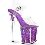Purper 20 cm FLAMINGO-808GF glitter plateau schoenen dames met hak