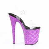 Purper 20 cm FLAMINGO-808MSLG glitter plateau sandalen met hak
