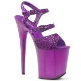 Purper 20 cm FLAMINGO-874 glitter plateau sandalen met hak