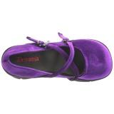 Purper Fluweel 11,5 cm KERA-10 lolita schoenen met dikke zolen
