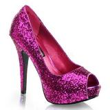 Purper Glitter 13,5 cm TWINKLE-18G Plateau Pumps Hoge Hak Peep Toe