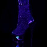 Purper glitter 18 cm MOON-1018MER paaldans enkellaarsjes met hoge hakken