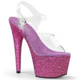 Purper glitter 18 cm Pleaser ADORE-708HMG paaldans schoenen met hoge hakken