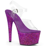 Purper glitter 18 cm Pleaser ADORE-708LG paaldans schoenen met hoge hakken