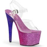 Purper glitter 18 cm Pleaser ADORE-708OMBRE paaldans schoenen met hoge hakken