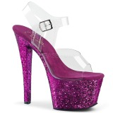 Purper glitter 18 cm Pleaser SKY-308LG paaldans schoenen met hoge hakken