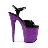 Purper glitter 20 cm Pleaser FLAMINGO-809LG paaldans schoenen met hoge hakken