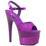 Purple 18 cm ADORE-709-2G glitter platform sandals shoes