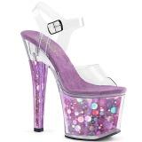 Purple 18 cm RADIANT-708BHG Hologram platform high heels shoes