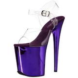 Purple 20 cm FLAMINGO-808 Chrome Platform High Heels