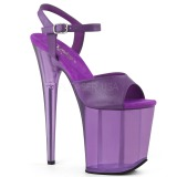 Purple 20 cm FLAMINGO-809T Acrylic platform high heels shoes