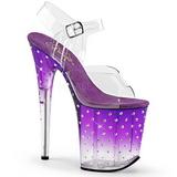 Purple 20 cm STARDUST-808T Acrylic Platform High Heeled Sandal
