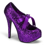 Purple Glitter 14,5 cm TEEZE-10G Platform Pumps Shoes