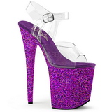 Purple Glitter 20 cm FLAMINGO-808LG Platform High Heeled Sandal Shoes