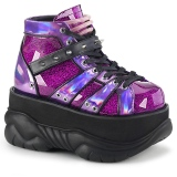 Purple Leatherette 7,5 cm NEPTUNE-100 Platform Mens Gothic Shoes