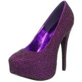 Purple Rhinestone 14,5 cm Burlesque TEEZE-06R Platform Pumps Women Shoes