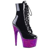 Purple glitter 18 cm Pleaser ADORE-1020LG Pole dancing ankle boots