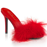 Red 10 cm CLASSIQUE-01F womens mules with marabou feathers