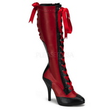 Red 11,5 cm TEMPT-126 High Heeled Lace Up Boots