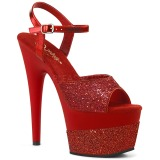 Red 18 cm ADORE-709-2G glitter platform sandals shoes