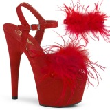 Red 18 cm ADORE-709F exotic pole dance high heel sandals with feathers