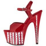 Red 18 cm ADORE-709VLRS rhinestone platform high heels