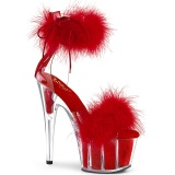 Red 18 cm ADORE-724F exotic pole dance high heel sandals with feathers