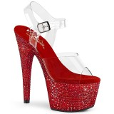 Red 18 cm BEJEWELED-708DM rhinestone platform high heels