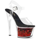 Red 18 cm SKY-308WHG glitter platform high heels shoes