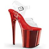Red 20 cm FLAMINGO-808 Chrome Platform High Heels