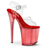 Red 20 cm FLAMINGO-808T Acrylic Platform High Heeled Sandal