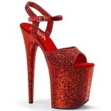 Red 20 cm FLAMINGO-810LG glitter platform high heels shoes