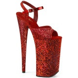 Red 25,5 cm BEYOND-010LG glitter platform high heels shoes