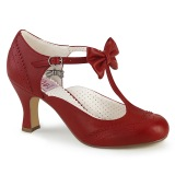 Red 7,5 cm retro vintage FLAPPER-11 Pinup Pumps Shoes with Low Heels