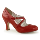 Red 7,5 cm retro vintage FLAPPER-35 Pinup Pumps Shoes with Low Heels